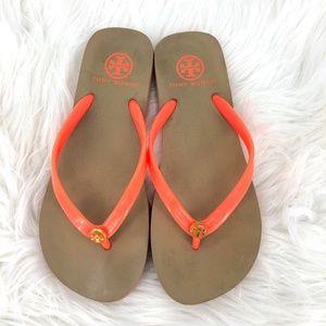 Tory Burch Neon Orange Striped Rubber Flip Flop M